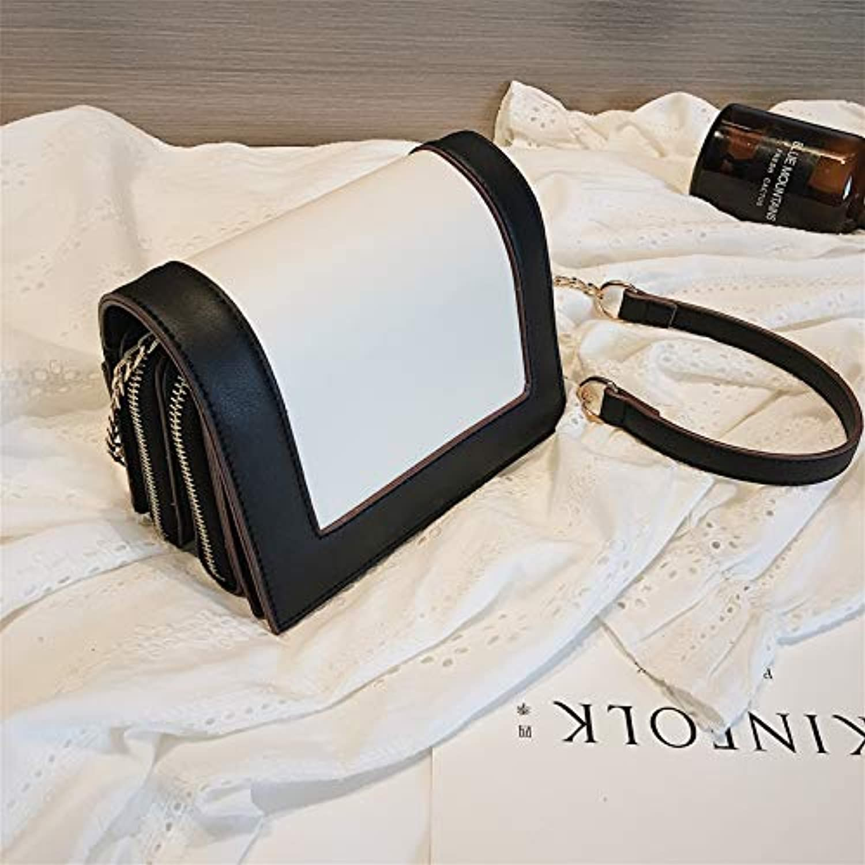 WANGZHAO Women's Bags, Shoulder Bag, Satchel, Black and White 18X13X8Cm