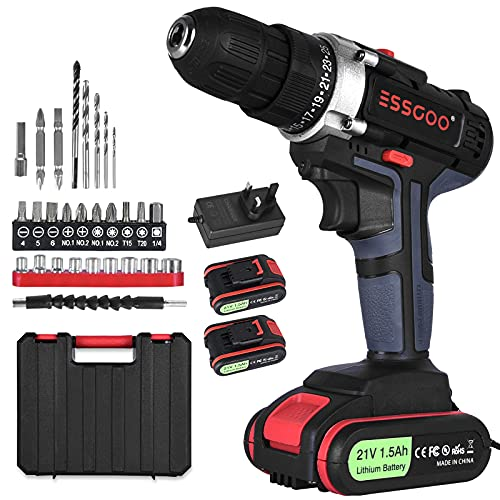 ESSGOO Heavy Duty 21V Cordless Electric Drill, High/Low Dual Speed Max Torque 36N·m Combi Drill Screwdriver with 2 1500mAh Li-Ion Batteries and Charger, Carrying Case