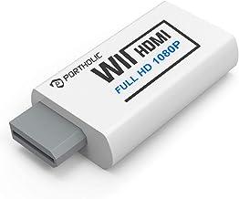 PORTHOLIC - Convertidor de Wii a HDMI 1080P para dispositivo Full HD, Wii HDMI adaptador con conector de audio de 3,5 mm y...