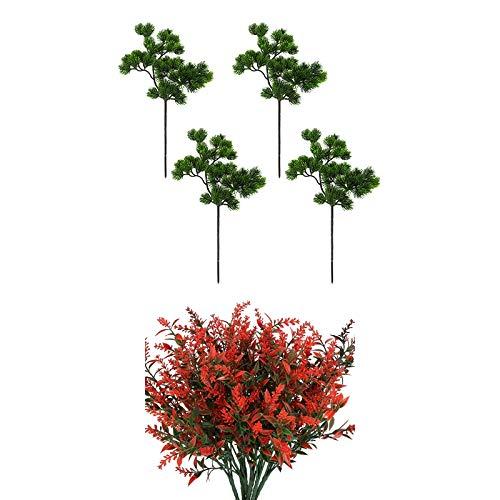 Cobeky 10 piezas de decoración de jardín: 6 piezas de lavanda artificial naranja rojo y 4 piezas de ramas de pino artificiales de plástico ramas de pino