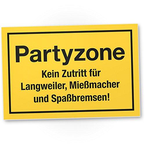 DankeDir! Partyzone, Kunststoff Schild mit Spruch - lustiges Geschenk für ihn, Geschenkidee Geburtstagsgeschenk Männer/Jungs, Party Deko Zubehör, Scherzartikel JGA - Accessoire Fotobox