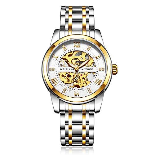 Hombres Automático Esqueleto Relojes, Hombre Relojes Mecánicos Clásicos Militar Especiales Marea Moda Acero Inoxidable Impermeable Cronógrafo,Gold White
