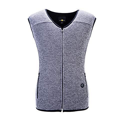 DZX Elektrisch warmte-vest voor heren, met USB-kabel, voor outdooractiviteiten, camping, fiets en ski's grijs-L