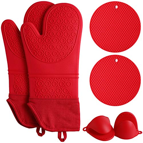 QUWIN Oven Mitts Set, Heat Resistant with Mini Oven Gloves and Hot Pads Potholders, Non-Slip Food Grade Long Oven Mitts for Kitchen Baking Cooking (6-Piece Set, Red)