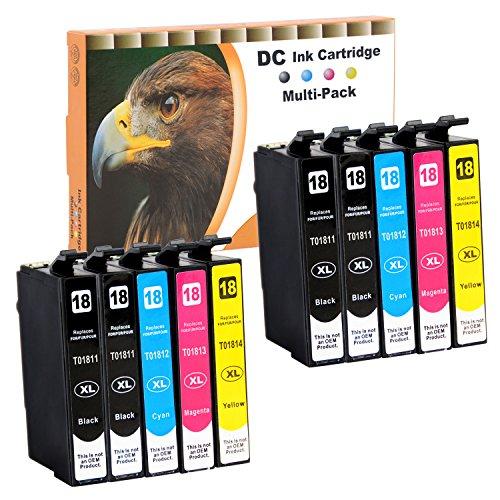 D&C 10 Druckerpatronen mit 18XL T1811-4 für Epson Expression Home XP-102 XP-202 XP-205 XP-212 XP-215 XP-225 XP-302 XP-305 XP-312 XP-315 XP-322 XP-325 XP-402 XP-405 XP-405WH XP-412 XP-415 XP-422 XP-425