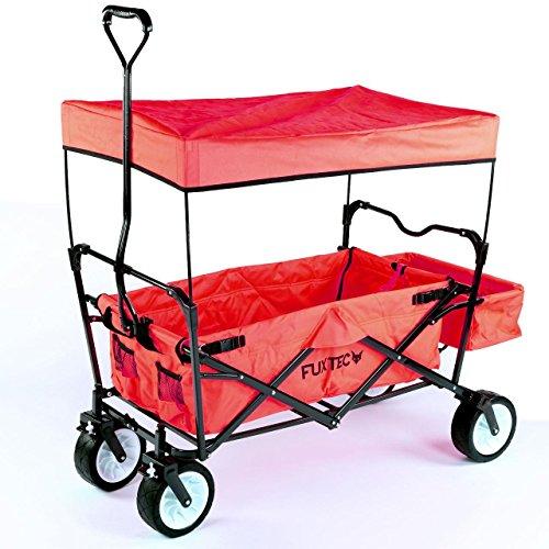 FUXTEC faltbarer Bollerwagen FX-CT350 Rot - in weiteren 4 Farben erhältlich, klappbar mit Dach, Vorderrad-Bremse, Strand-Reifen, Hecktasche, für Kinder geeignet - Das Original mit Qualität!