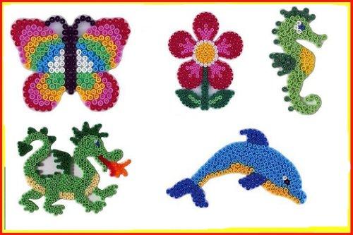 Hama Midi Stiftplatten Set 19 Midi Bügelperlen (Drache,Delphin,Seepferd,Blume,Schmetterling)