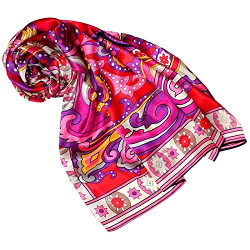 Lorenzo Cana - Luxustuch Frauen Seidentuch Tuch XL Satin Seidensatin Schal 110 cm x 110 cm reine Seide aufwändig mehrfarbig bedruckt Rottöne 8904777