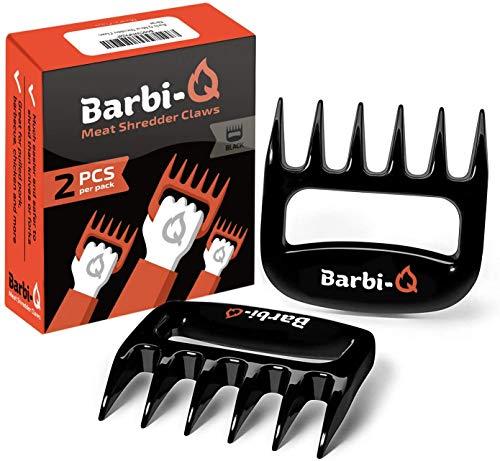 Barbi-Q Par de Garras de Carne para Barbacoa Parrilla Ahumador | Tenedores para Carne Ahumado | Trituradora Garras de Oso para Cerdo Tirado (Negro)