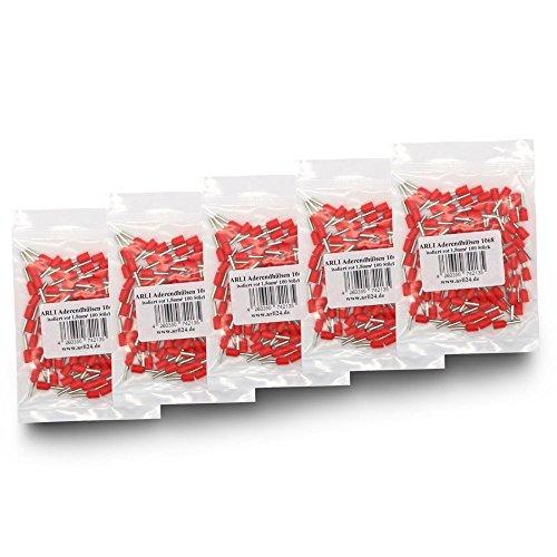 Aderendhülsen isoliert rot 500 x 1,5 mm² Aderendhülse zum crimpen mit Crimpzange Aderend Press Hülsen Stecker 1,5 mm Hülse kfz Draht Elektro Kabelschuhe 500 Stück ARLI