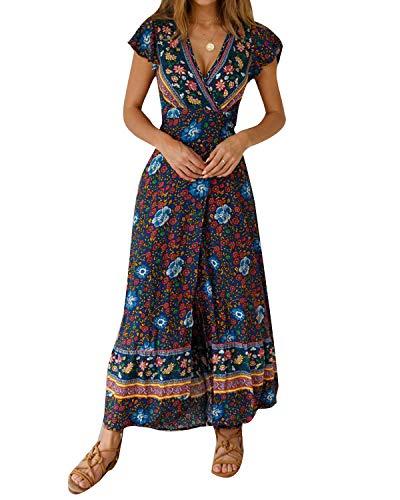 MINTLIMIT Kleider Damen Boho Sommerkleid Blumen V-Ausschnitt Kurzarm Wrap Split Maxikleid Vintage Standkleid Marine L