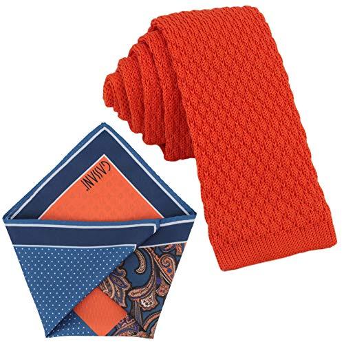 GASSANI Krawatten-Set, 6cm Schmale Orangene Strick-Krawatte, Dünne Vintage Herren-Krawatte Wolle Baumwolle, Einstecktuch Bunt 4 Verschiedene Designs