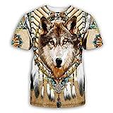 Indian Wolf Totem Camiseta de Manga Corta Moda para Hombre Sudaderas con Estampado 3D Camiseta Casual