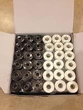 144 Black/White Prewound Bobbins for Brother Embroidery Machine Size A (156)