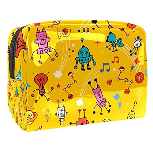 Bolsas de cosméticos Bolsa de maquillaje portátil para mujer - PVC Travel Beauty Zipper Organizador Bag (Alien Monsters Cartoon)