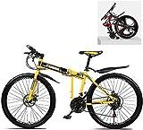 Bicicleta de montaña plegable de 24 pulgadas 21/24/27/30, velocidad variable, cuadro de acero de carbono, doble amortiguación (color: C, tamaño: 30 sp), color b, tamaño 30 Speed