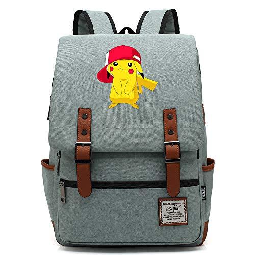 Mochila Anime pikach Mochila de Viaje universitaria para Adolescentes, se Adapta a una Tableta portátil de 15', Bolsa de Fin de Semana para niños/niñas L-16 Pulgadas Color-19