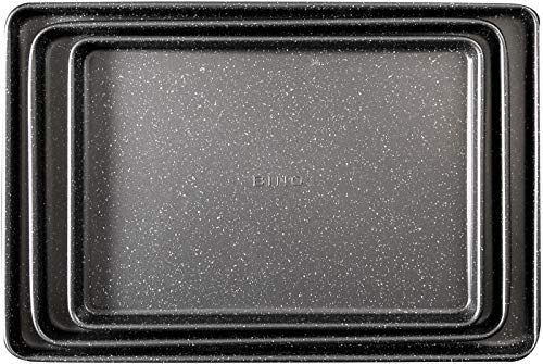 BINO Bakeware Nonstick Cookie Sheet Baking Tray Set, 3-Piece - Speckled Gunmetal | Premium Quality Baking Sheet Set with Nonstick Technology | Dishwasher Safe | Non-Toxic