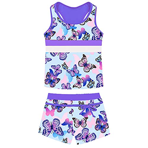 iEFiEL Mädchen Bikini Bademode 2-teilig Sport Set UV-Schutz Badeset Badeanzug Sfreifen Badeshirt und Badeshorts Gr. 116-164 Z Lavendel Schmetterling 122-128