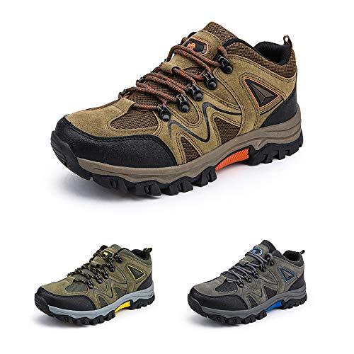 Bandkos Trekkingschuhe Herren Wanderschuhe LeichteAtmungsaktiv Outdoor Sportschuhe rutschfeste Hiking Sneaker Schwarz Grün Khaki Größe 39-47,KH-44
