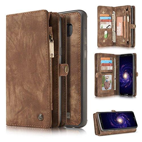Para la funda Galaxy S8Plus, una cartera de cuero hecha a mano multifuncional de dos en uno con ranuras con tarjeta de crédito y cubierta extraíble, bolso premium con cremallera para Samsung Galaxy S8