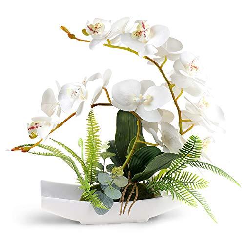 Yobansa Dekorative echte Berührung gefälschte Orchidee Bonsai künstliche Blumen mit Imitation Porzellan Blumentöpfe Phalaenopsis Blumenarrangements für Home Decoration (White)