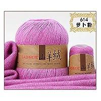 糸50 + 20 gの手編み物カシミヤ糸のためのカシミヤ糸のためのカシミヤ糸のためのカシミヤ糸のための編みのかぎ針編み糸家のミシン供給通気性防止ピリング (色 : 614)