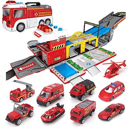 Nixi888 Großer Feuer-LKW-Montage-Spielzeug-Auto-Löschfahrzeug Parkplatz DIY BAU Auto Fahrzeug City Track Set...