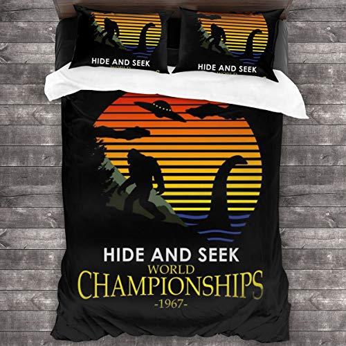 KUKHKU Bigfoot and Loch Ness Monster Hide and Seek Champions Juego de cama de 3 piezas, funda de edredón de 86 pulgadas x 70, Queen decorativa de 3 piezas con 2 fundas de almohada