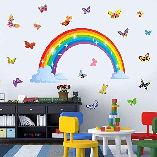 Romantic Butterfly Wall Decal Rainbow Wall Decal Removable Wall Girls Bedroom Decor Kids Room product image