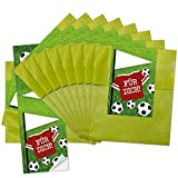 25 bolsas de papel pequeñas verdes para regalo (9,5 x 14 cm) con pegatina para escribir 'Für Dich', perfectas para la fiesta de fútbol y cualquier aficionado al fútbol.