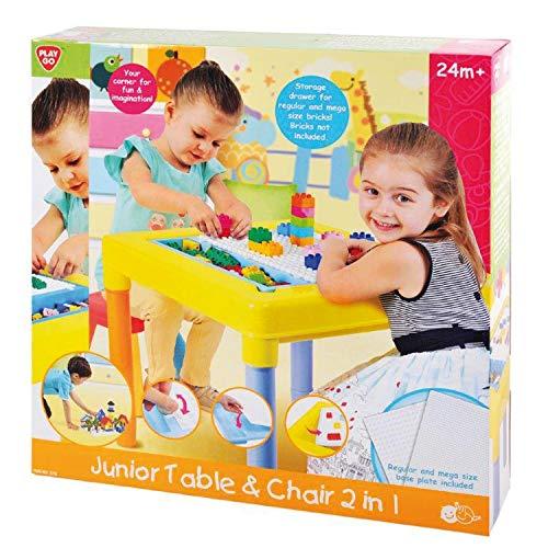 PlayGo junior Table Spieltisch mit 2 Grundplatten für Bausteine 1 Hocker