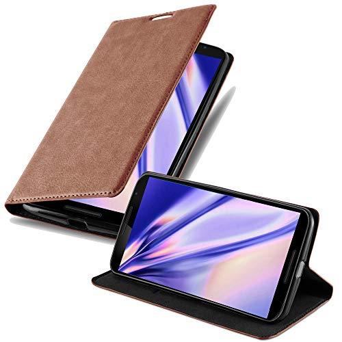 Cadorabo Hülle für Lenovo Google Nexus 6 / 6X - Hülle in Cappuccino BRAUN – Handyhülle mit Magnetverschluss, Standfunktion & Kartenfach - Case Cover Schutzhülle Etui Tasche Book Klapp Style