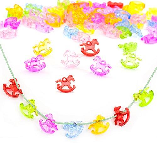Oblique-Unique - Cavallo a dondolo 3D in plastica, multicolore, 2,5 cm, 100 pezzi, decorazione per collana, coriandoli, baby shower