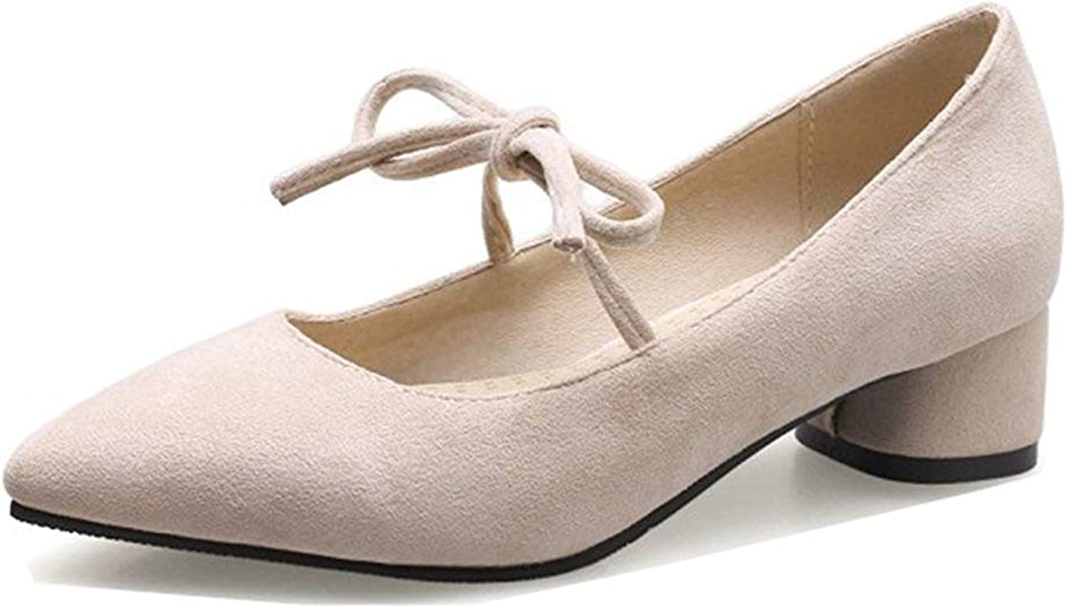 Unm Women's Stylish Low Cut Pointed Toe Dressy Low Chunky Heel Lace Up Pumps shoes