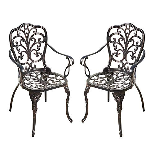 Trueshopping Set of 2 Cast Aluminium Armchairs Weatherproof Metal Outdoor Patio Garden Furniture Chairs