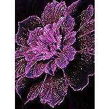Soreatr Pintura 5D Diamante para Adultos y Niños Flor rosa Taladro completo Bordado Redondo Kits de Punto de cruz Artesanía Decoración de Pared para el Hogar Gift-20X30CM