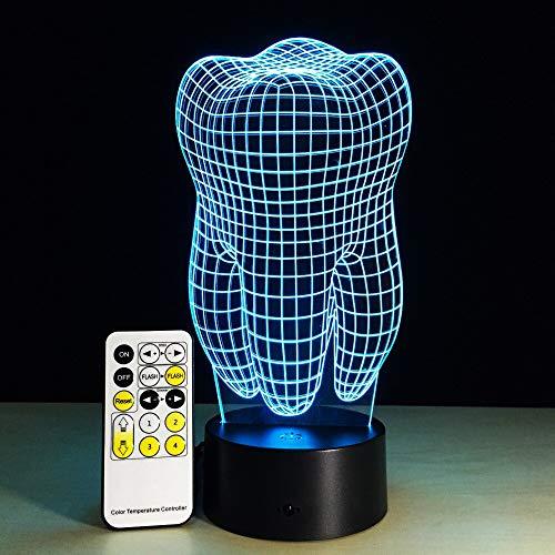 Wfmhra Zahn 3D Nachtlicht RGB Wechselbare Stimmungslampe LED Licht V USB Dekorative Lampe Mit Fernbedienung oder Touch Control Krankenhaus Dekor