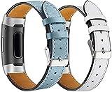 Chainfo Correa de Reloj de Piel con Hebilla Compatible con Fitbit Charge 4 / Charge 4 SE/Charge 3 SE/Charge 3, Estilo de Vintage, Replacement Banda (Pattern 4+Pattern 9)