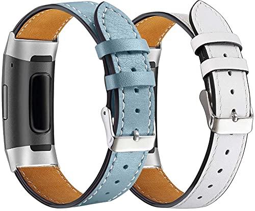 Chainfo Correa de Reloj de Piel con Hebilla Compatible con Fitbit Charge 4 / Charge 4 SE/Charge 3 SE/Charge 3, Estilo de Vintage, Replacement Banda