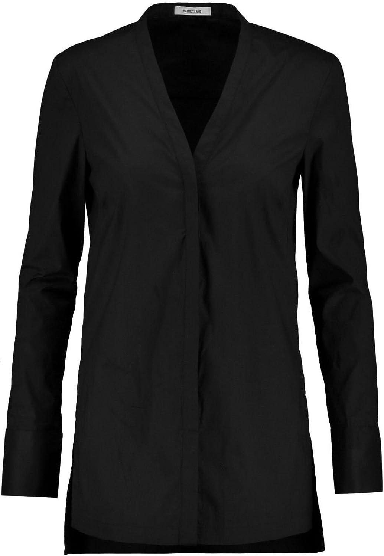 Helmut Lang Guild Shirting VNeck Top Button Down Shirt Tunic in Black P