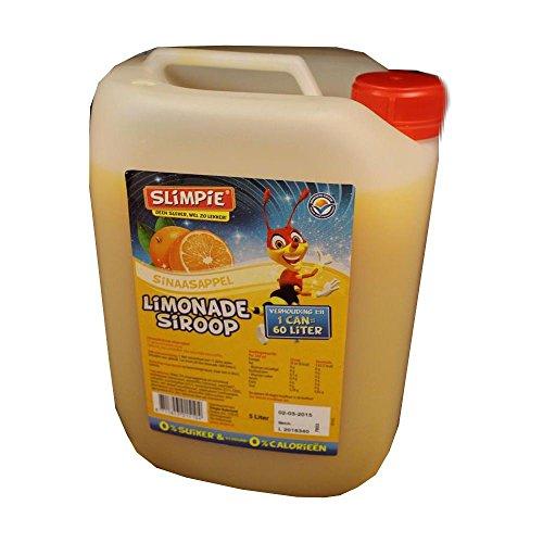 Slimpie Limonade Siroop Sinaasappel 5l Kanister (Getränke-Sirup Orange, Zuckerfrei)