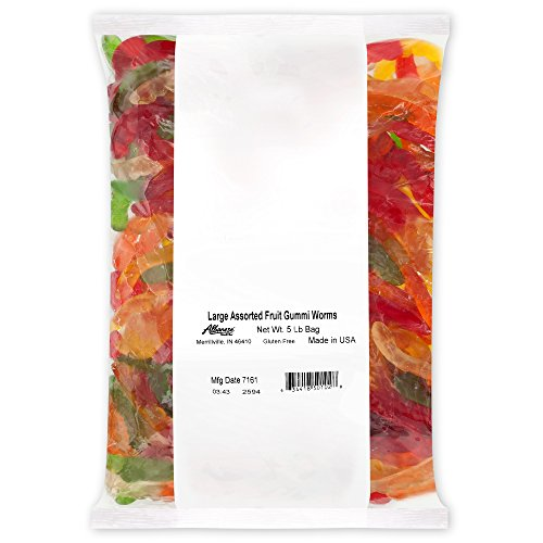 Albanese Candy Large Assorted Fruit Gummi Worms Gummi Candy, Assorted Flavors: Cherry, Green Apple, Pineapple, Lemon, Orange; Gluten Free Dairy Free Fat Free, 5 Pound (Pack of 1)