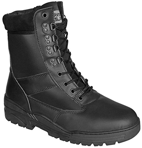 Black Full Leather Army Combat Patrol Boots Tactical Cadet Military...