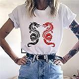 A-HXTM Camisetas Dragon Impresión Divertida Mujeres Casual Blanco Tops Harajuku Manga Corta Camiseta Gráfica Mujeres Ropa Se Aplican Al Ejercicio De Uso Diario Corriendo Etc-24602_S
