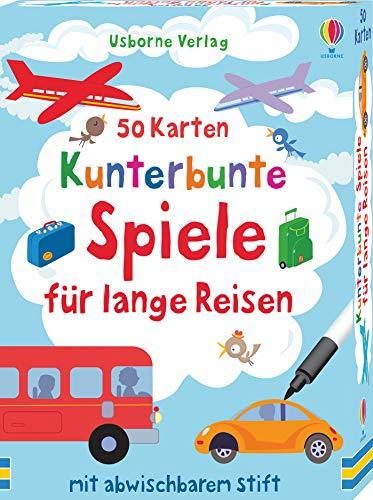 50 Karten: Kunterbunte Spiele für lange Reisen: mit abwischbarem Stift