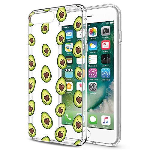 Pnakqil Hülle für iPhone SE 2020/iPhone 8/7 Clear TPU Weich Handy Schutzhülle with Design für Mädchen, Silikon Back Cover Handytasche Ultra dünn Slim Schale Bumper, Avocado 1