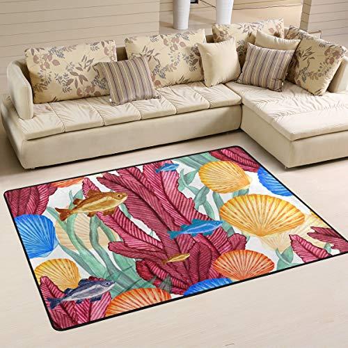 Rootti Ocean Animal Coral - Alfombra antideslizante para salón, comedor, dormitorio, cocina, pasillo, felpudos pequeños, 160 x 120 cm