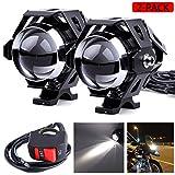 Faros delanteros motocicletas Motocicleta U5 LED Lámpara antiniebla, Luz delantera para el punto LED Universal Luz antiniebla para motocicleta Proyector Luz trabajo Lámpara(2 unidades, negro)