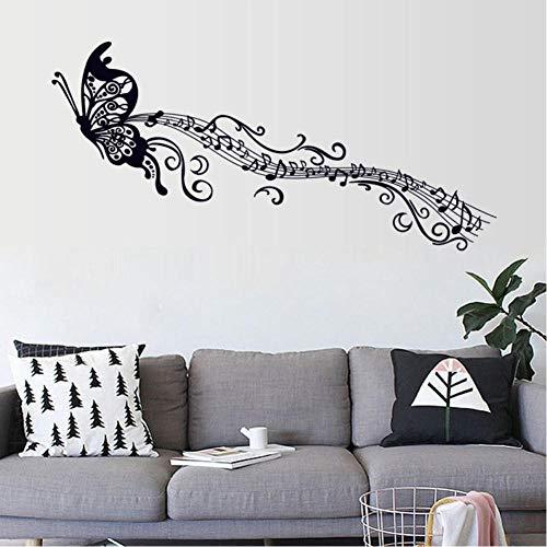 Música negra mariposa decoración de la pared Stave Note pegatinas de pared PVC calcomanías de pared vinilo decoración del hogar para habitación de niños extraíble 60x90cm